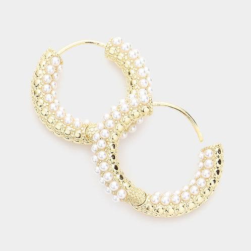 Pearl Embellished Metal Hoop Huggie Earrings