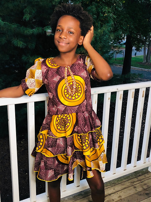 Princess Gold and Brown Elegant Dress