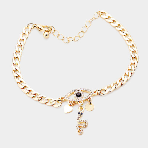 Evil Eye, Hearts, and Snake Bracelet Gold
