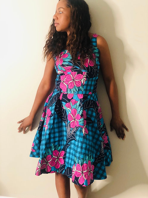 Lotus Flower Sleeveless Ankara Dress