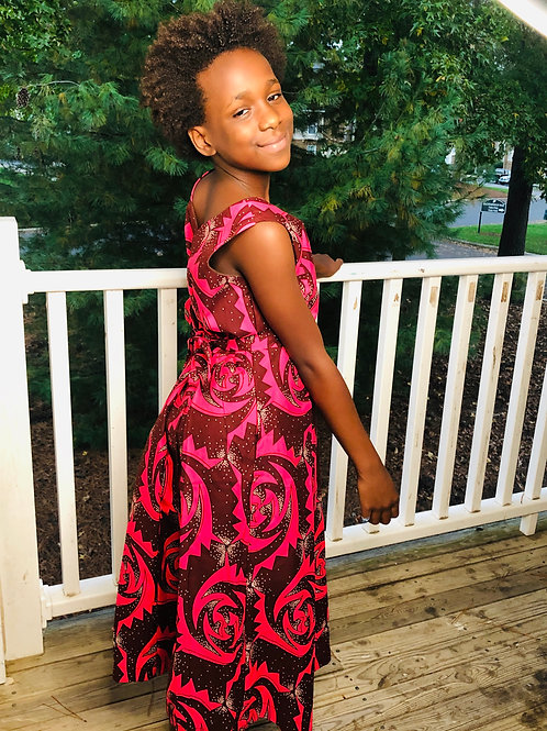 Daughter Pink Flower Ankara Dress