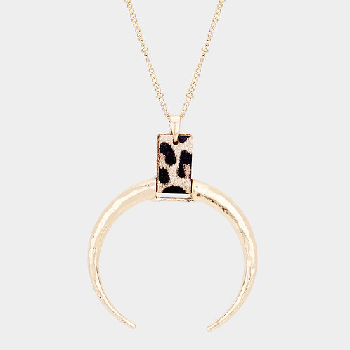 Half a Moon Leopard Gold Necklace