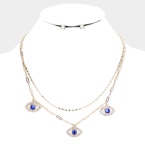 Trio Evil Eye Royal Blue Necklace