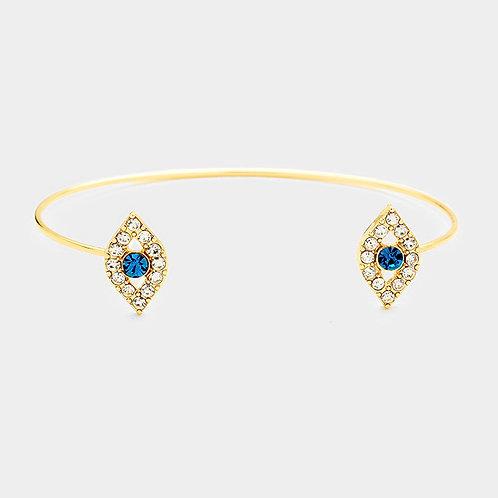 Stone Double Evil Eye Cuff Bracelet
