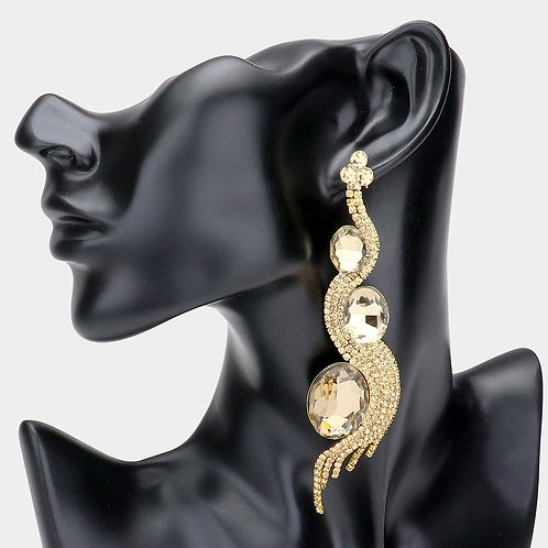 Triple Oval Stone Accented Wavy Rhinestone Evening Earrings