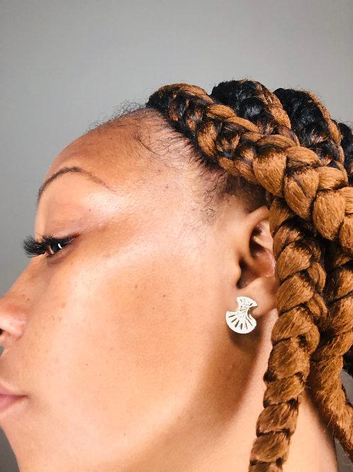 Gold Plated Empress Fan Earrings