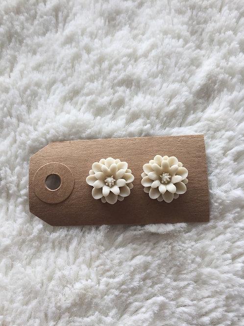Cream Floral Earrings