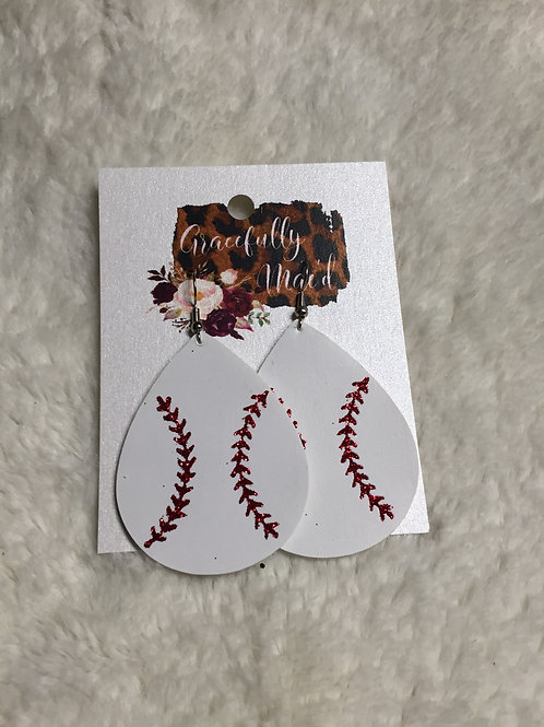 Baseball Faux Leather Double Sided Earrings