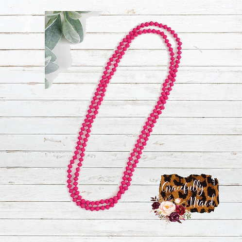 "Matte Pink 60"" Necklace"