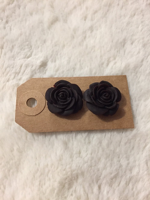 Large Chocolate Rose Earrings