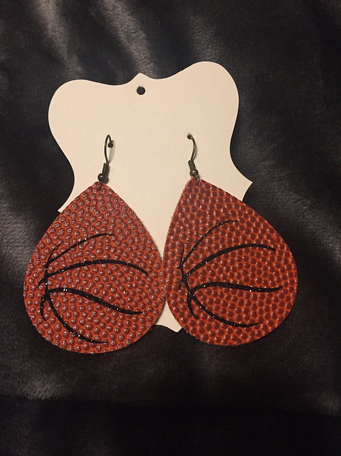 Basketball Faux Leather Double Sided Earrings