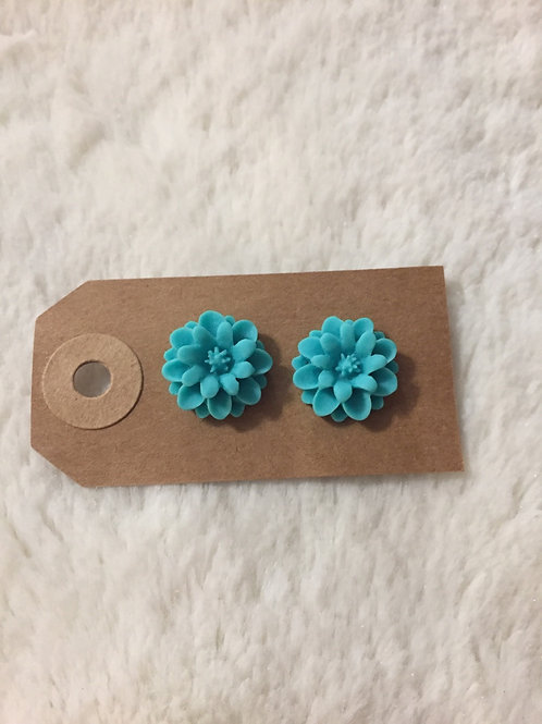 Teal Floral Earrings