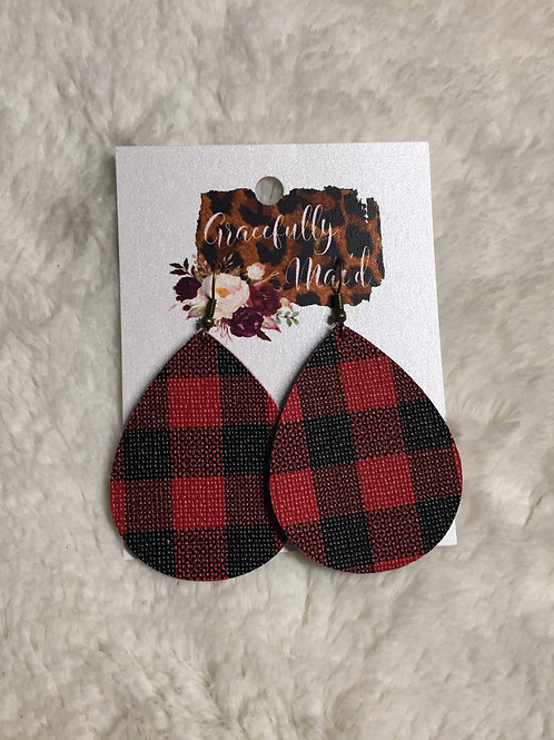 Red/White Buffalo Plaid Double Sided Earrings