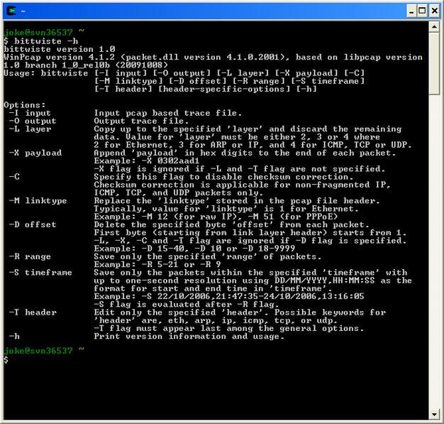 Bittwiste: pcap Capture File Editor (by Joke Snelders)