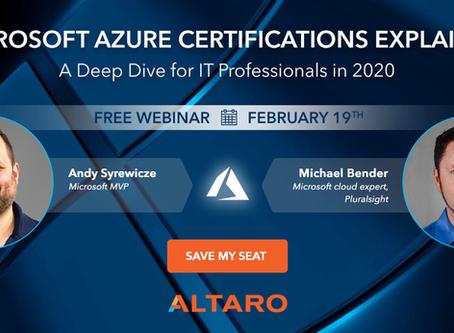 Altaro Free Webinar on Microsoft Azure Certifications
