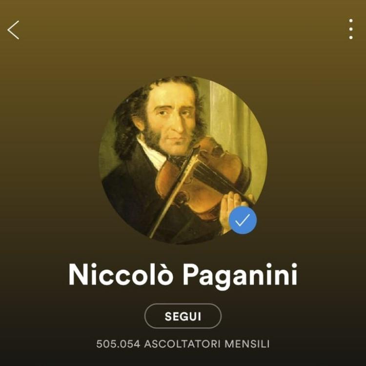 Il profilo di Paganini su Spotify