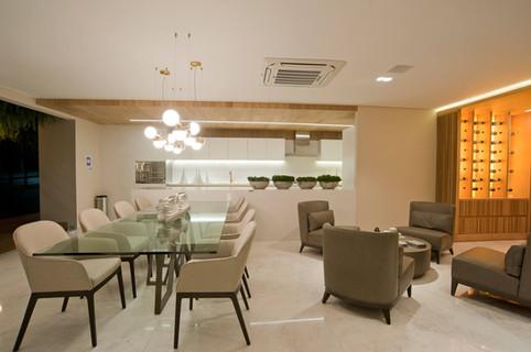 Estar, jantar e cozinha apartamento decorado