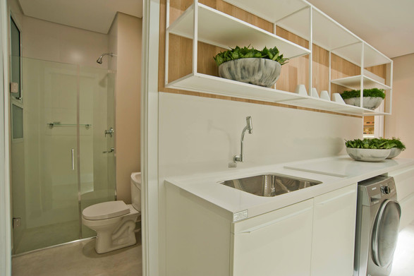 Banheiro de serviço apartamento decorado