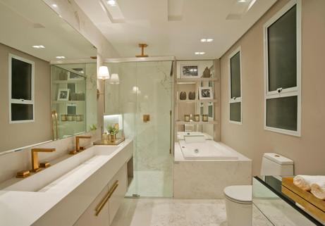 Banheiro 01 suíte casal apartamento decorado