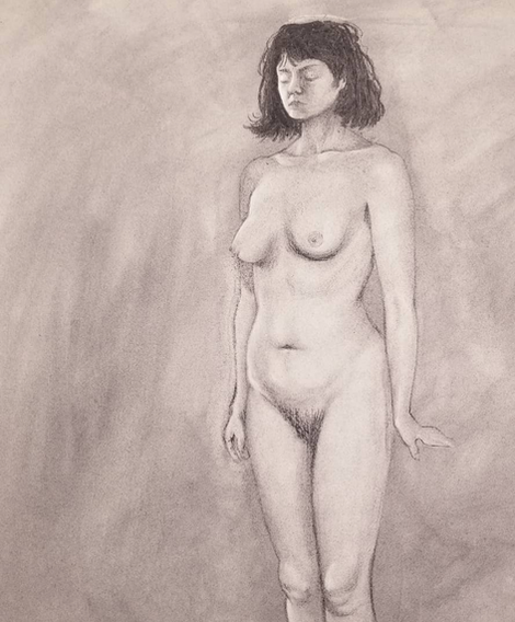 Live Model with Charcoal Dust