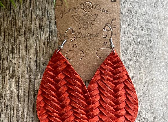 Braided leather Teardrop Earring