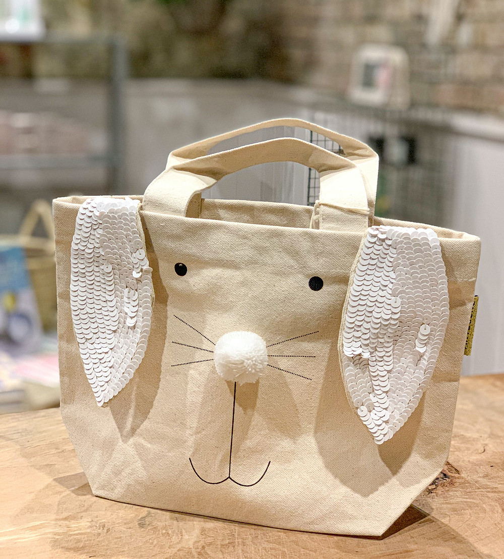 easter bunny canvas tote bag
