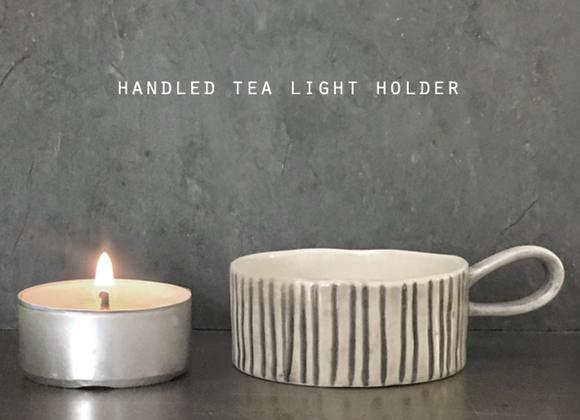 Handled Stripe Tea light Holder
