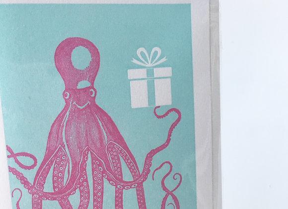 Octopus Mini Note Card (blank inside)