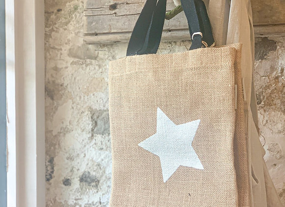 Jute Gift Bag (silver star)