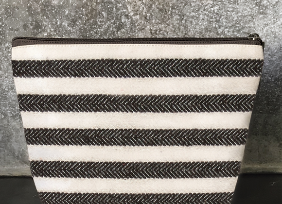 Large Wide Striped Cosmetic Bag
