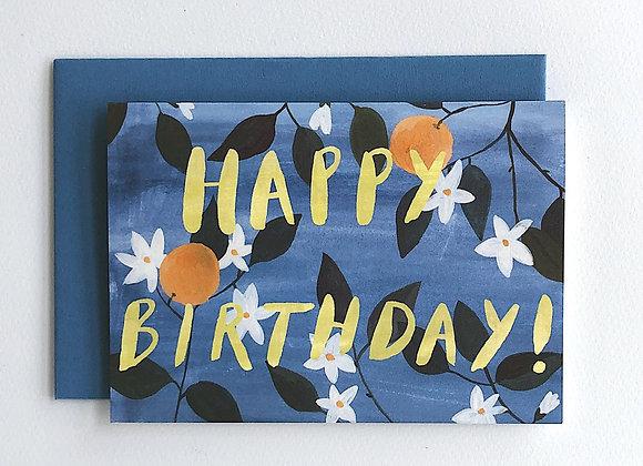 Oranges Happy Birthday card