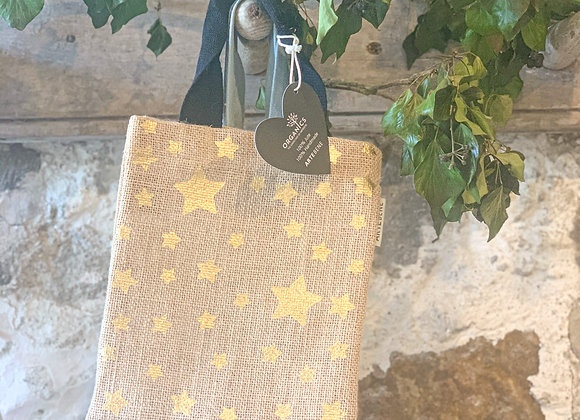 Small Jute Gift Bag (gold star)