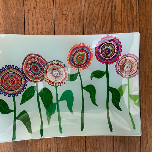 Spring Flowers Glass Tray
