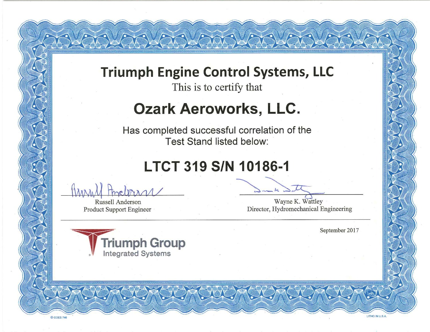Triumph Correlation Certification