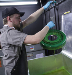 Part being dipped in 1D4 Penetrant