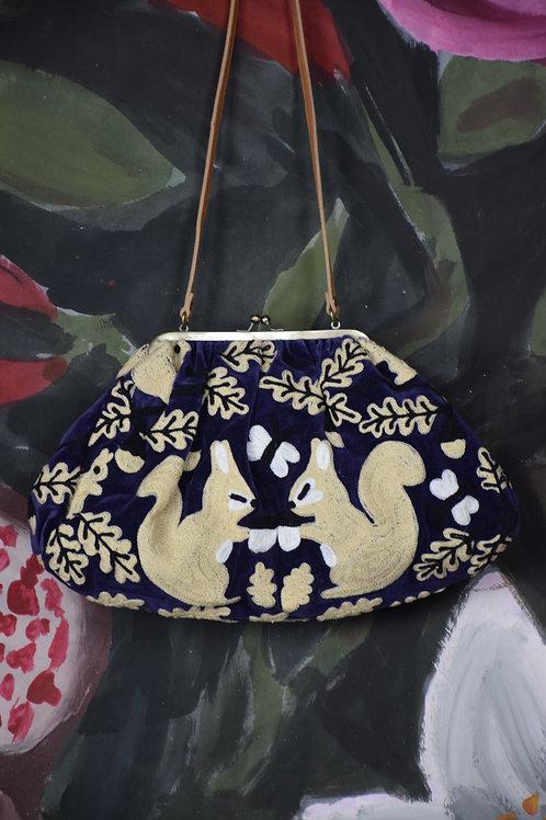 Clutch bag velluto di cotone ricamate #550