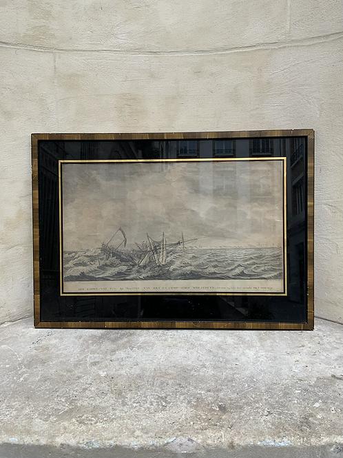 A Dutch XVIII print of a sinking boat .