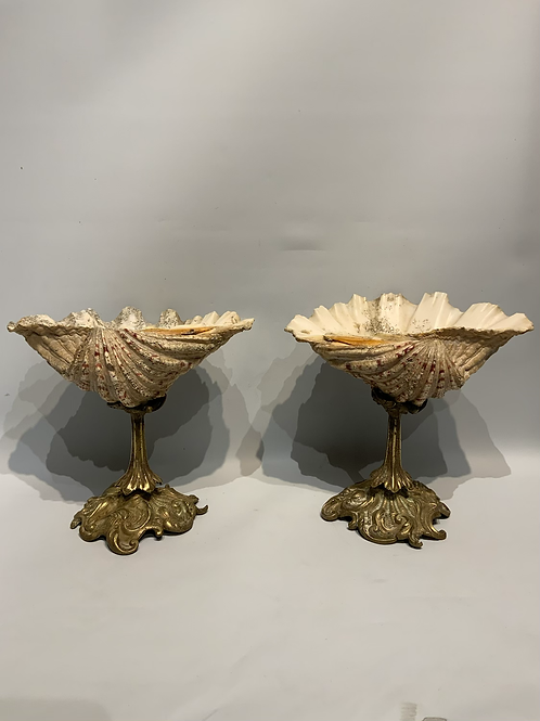 A pair of small shells on a bronze base .