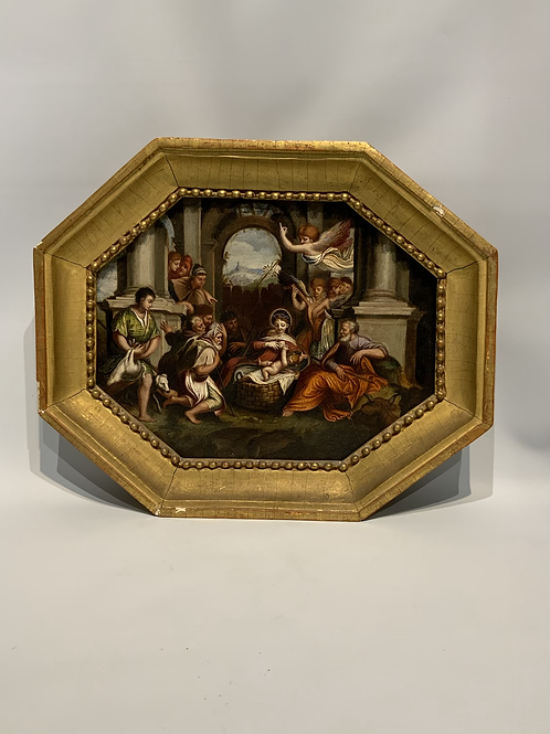 An octagonal oil painting on slate .