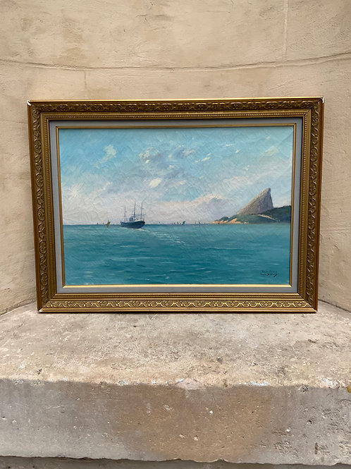 An oil on canvas painting of Rio De Janeiro by Louis Victor Billiard ( 1864-1952