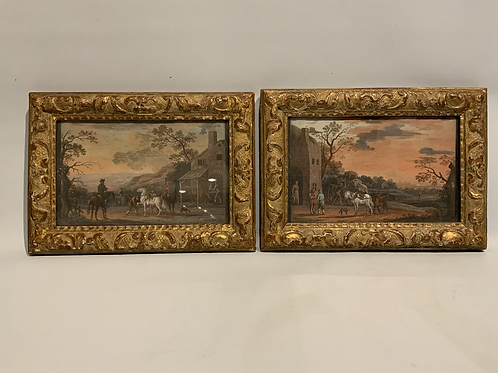 Two gouaches in a gilded frame , attributed to Louis Nicolas van Blarenberghe .