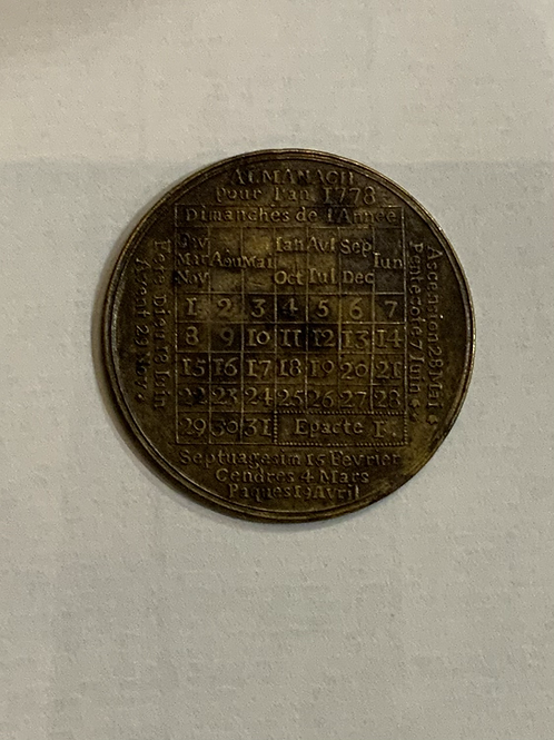 An almanac calendar for the year 1778 in copper .