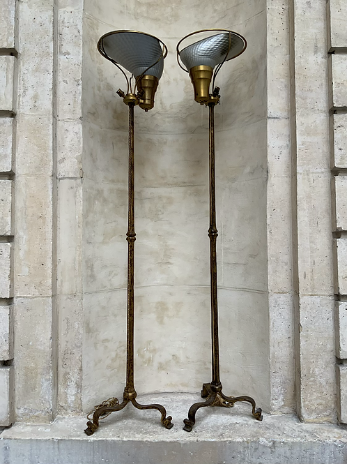A pair of bronze gilded  floor lamps around 1950 by  Ramsay .