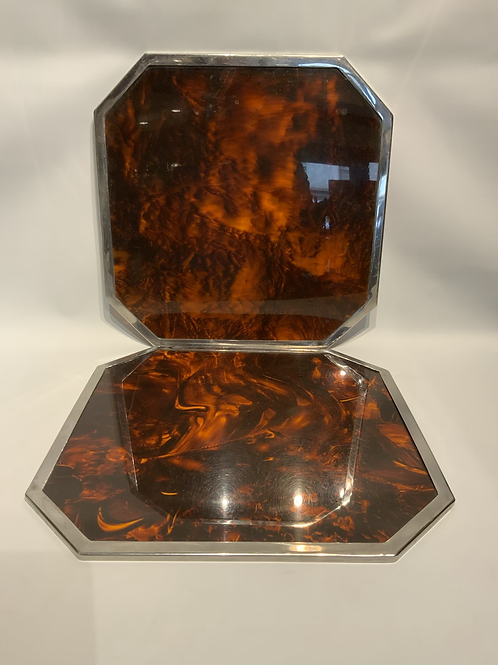 A pair of under plates in imitation turtle shell and metal 1970.