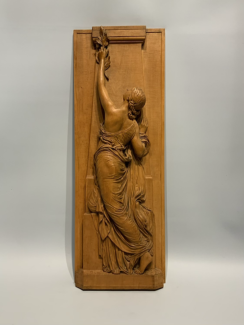 A very refined boxwood sculpture after Chapu.