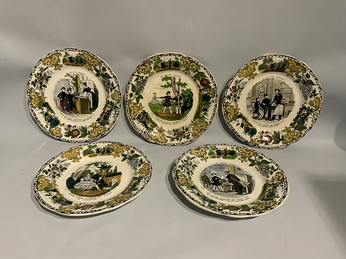 Five polychrome faience dishes from creil et montereau.