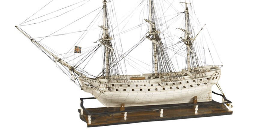 Rare prisoners of war ship model in ivory and bone