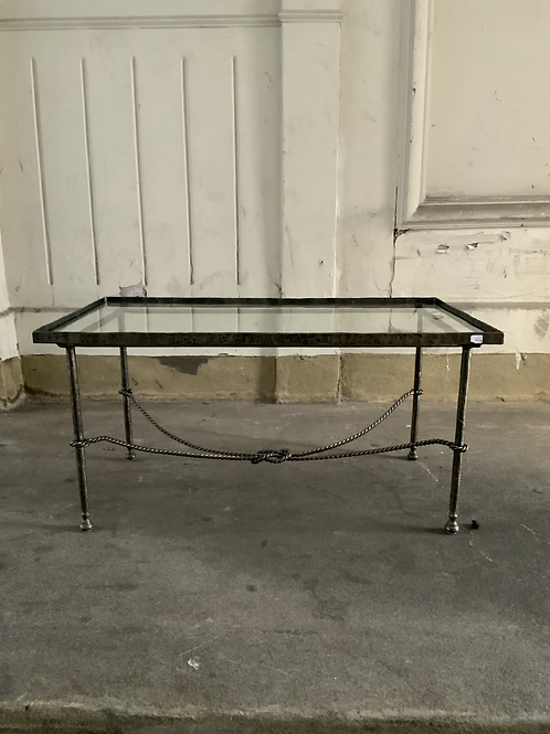 A French coffee or tea table with a glass top and iron , 1950/1960