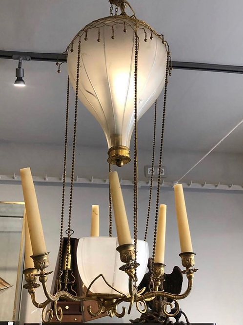 A very rare 19th century air balloon lamp in glass and bronze , Charles X period
