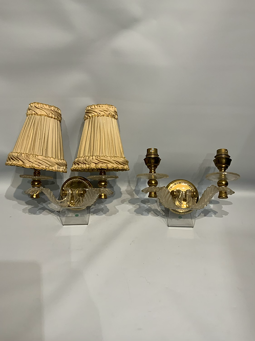 Two wall lights from metal and celluloid , France around 1950 .